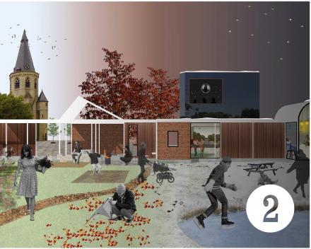 Concept 2: drempelloosheid, groen dorpstapijt, seizoensbeleving, breed huis, slanke structuur