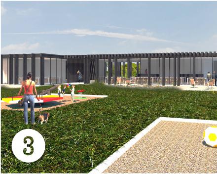 Concept 3: tijdloze architectuur, duurzame materialen, flexibel plan, paviljoen, luifel